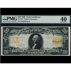 1906 $20 Gold Certificate PMG 40