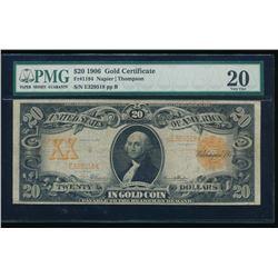1906 $20 Gold Certificate PMG 20