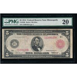1914 $5 Red Seal Minneapolis Federal Reserve Note PMG 20
