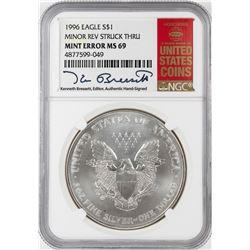 1996 $1 American Silver Eagle Coin Mint Error Minor Rev Struck Thru NGC MS69