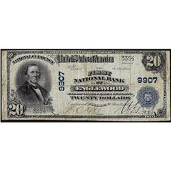 1902 PB $20 First NB of Englewood, CO CH# 9907 National Currency Note