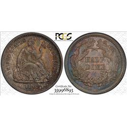 1862 Seated Liberty Half Dime Coin PCGS MS65 Nice Toning