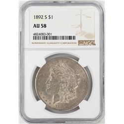 1892-S $1 Morgan Silver Dollar Coin NGC AU58