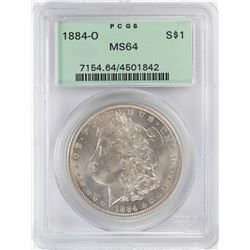 1884-O $1 Morgan Silver Dollar Coin PCGS MS64 Old Green Holder