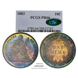 1883 Proof Seated Liberty Dime Coin Arrows PCGS PR66 CAC Amazing Toning
