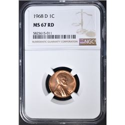 1968-D LINCOLN CENT NGC MS-67 RD