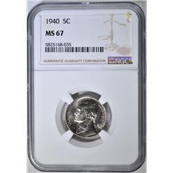 1940 JEFFERSON NICKEL NGC MS-67