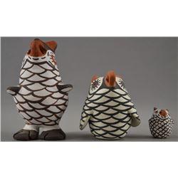 ZUNI INDIAN POTTERY OWLS