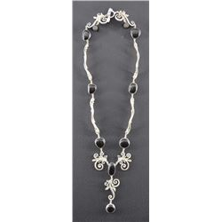 MEXICAN SILVER AND JET NECKLACE