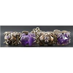 MEXICAN SILVER AND AMETHYST FROG BRACELET