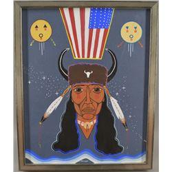 CREEK INDIAN PAINTING (JOHNNIE LEE DIACON)