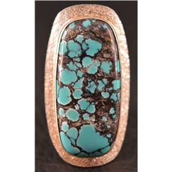 WESTERN SILVER AND TURQUOISE RING (RALPH SERA)