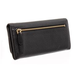 Prada Black Pebbled Leather Flap Wallet