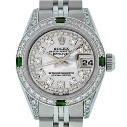 Rolex Ladies Stainless Steel Diamond Lugs MOP String Diamond Datejust Wristwatch
