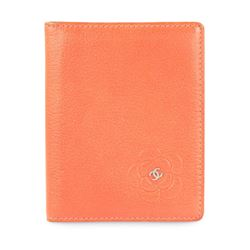 Chanel Orange Coral Camellia Bifold Card Holder Wallet