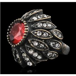 Silver 1.45 ctw Red Crystal and Cubic Zirconia Ring