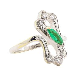 0.60 ctw Emerald and Diamond Ring - 18KT White Gold