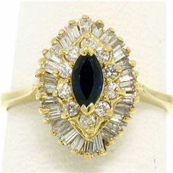 14k Yellow Gold 1.00 ctw Marquise Sapphire Solitaire Ring w/ Double Diamond Halo