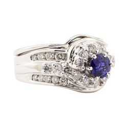 1.71 ctw Blue Sapphire And Diamond Ring Soldered To Band - 14KT White Gold