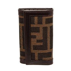 Fendi Brown Zucca Canvas Leather 6 Key Holder