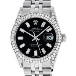 Rolex Mens Stainless Black Baguette Diamond Lugs Datejust Wristwatch