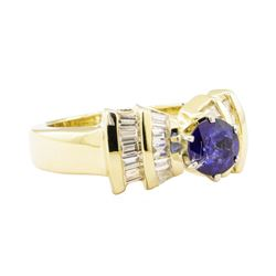 1.66 ctw Blue Sapphire And Diamond Ring - 14KT Yellow Gold