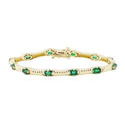2.50 ctw Emerald Bracelet - 14KT Yellow Gold