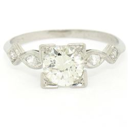 Antique Art Deco Platinum 1.30 ctw Old European Diamond Solitaire Engagement Rin