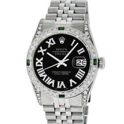 Rolex Mens Stainless Steel Black Roman Diamond & Emerald Datejust Wristwatch Wit