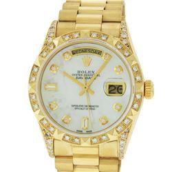 Rolex Mens 18K Yellow MOP Diamond 8 + 2 Diamond Lugs Quickset President Wristwat