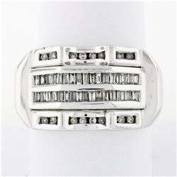 Large Mens 14K White Gold .90 ctw Round & Baguette Diamond  Channel Band Ring