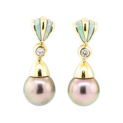 0.16 ctw Diamond and Pearl Earrings - 14KT Yellow Gold