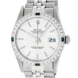 Rolex Mens Stainless Steel Silver Index Diamond 36MM Datejust Wristwatch