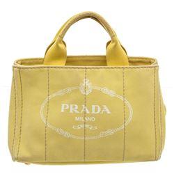 Prada Yellow Canvas Small Canapa Tote Bag