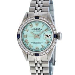 Rolex Ladies Stainless Steel Ice Blue Diamond & Sapphire Datejust Wristwatch