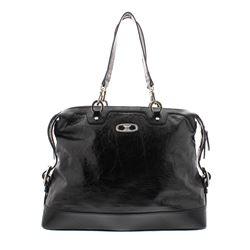 Celine Black Distressed Patent Leather Shoulder Handbag