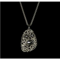 Assym Filigree Crystal Pendant Necklace - Silver