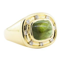 6.40 ctw Green Tourmaline And Diamond Ring - 14KT Yellow Gold