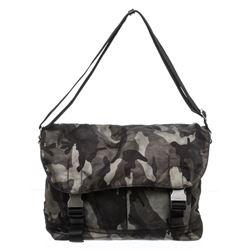 Prada Gray Camouflage Tessuto Nylon Messenger Bag