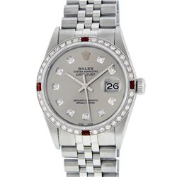 Rolex Mens Stainless Steel Gray Diamond & Ruby Datejust Wristwatch