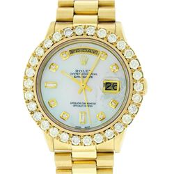 Rolex Mens 18K Yellow Gold 4.0 ctw Diamond Day Date President Wristwatch With Bo