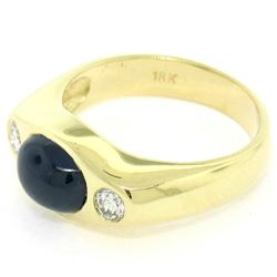 Men's Vintage 18K Yellow Gold 2.90 ctw Cabochon Sapphire & Diamond Band Ring Sz