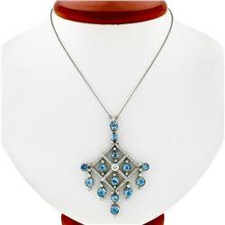 Tiffany & Co. Jazz Platinum 7.20 ctw Round Aquamarine Diamond Chandelier Necklac