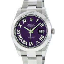 Rolex Mens SS 41MM Purple Roman Diamond Datejust 2 Oyster Band Wristwatch With B