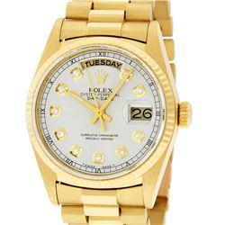 Rolex Mens 18K Yellow Gold Silver Diamond Quickset President Wristwatch With Box