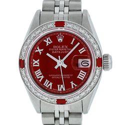 Rolex Ladies Stainless Steel Red Diamond & Ruby Datejust Wristwatch