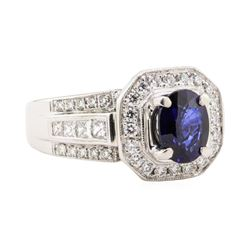 2.51 ctw Blue Sapphire And Diamond Ring - 18KT White Gold