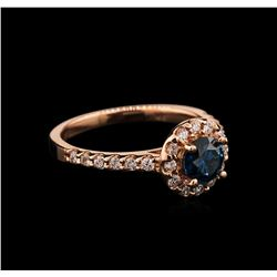 1.12 ctw Blue Diamond Ring - 14KT Rose Gold