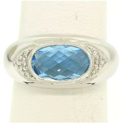 14K White Gold Oval Checkerboard Cut Bezel Blue Topaz Solitaire & Diamond Ring