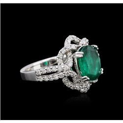 14KT White Gold 2.30 ctw Emerald and Diamond Ring